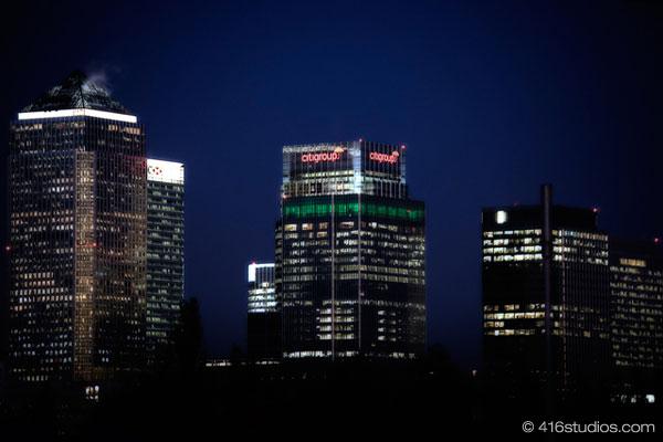 London at night Canary Wharf