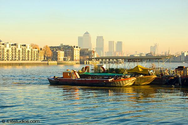 Bermondsey London boats morning light