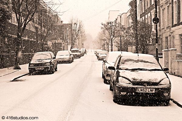 Sussex Way London winter snow