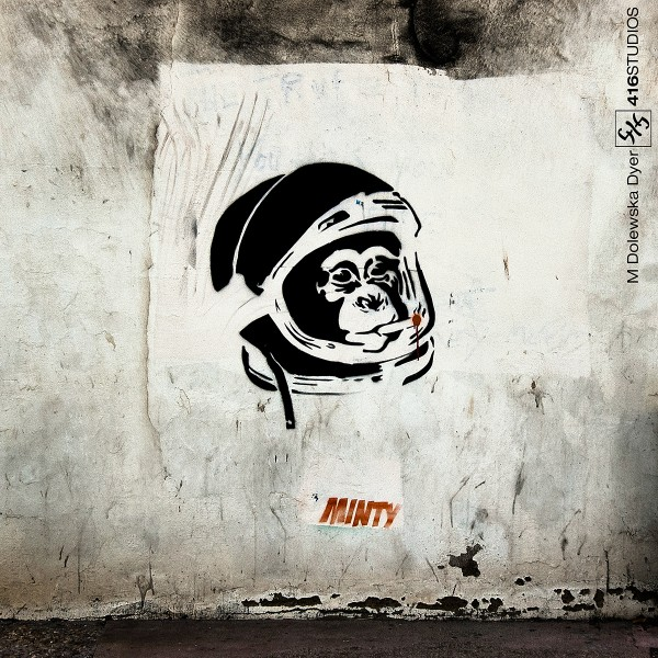 graffiti minty monkey b&w wall