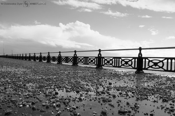 pebbles rain Brighton Hove seafront seaside b&w