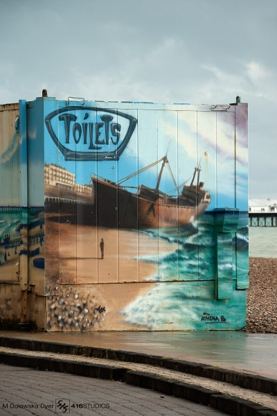 Brighton seafront toilets container graffiti